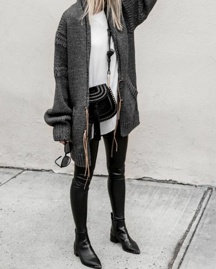 tendance-slim-gilet-ample-gris-bottines-en-cuir