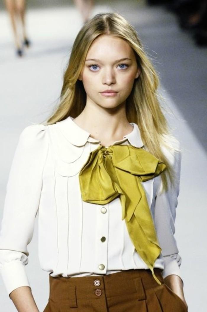 tenue-élégante-chemise-blanche-femme-à-gros-noeud