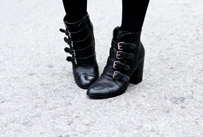 comment porter des bottines, modèle en cuir noir