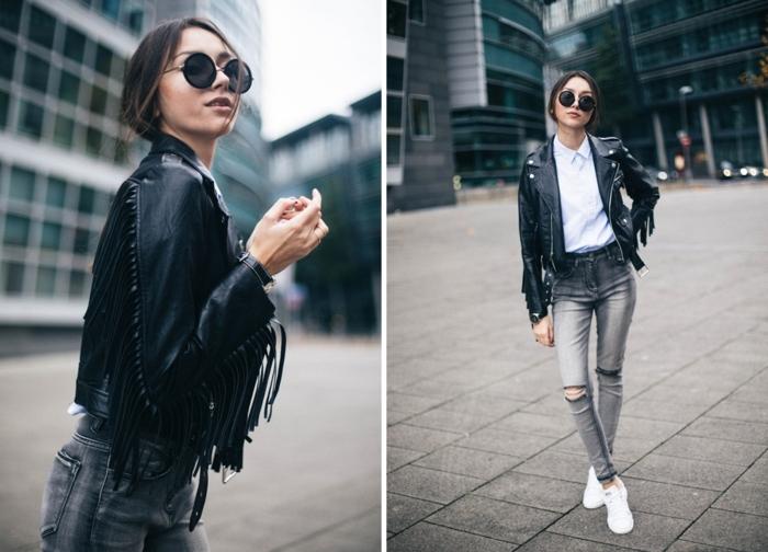 basket classe femme, jeans gris déchirés, chemise à col blanc, veste en cuir à franges, lunettes de soleil noires