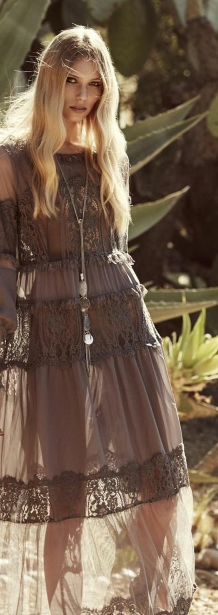 tenue boheme, robe couleur chocolat
