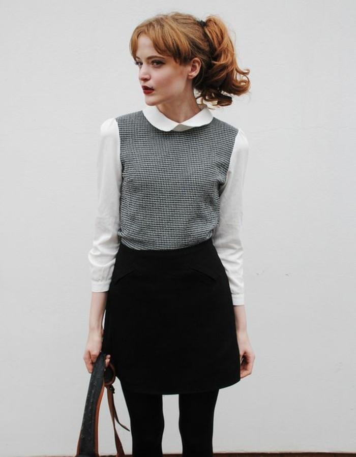 tenue-chic-et-réreo-jupe-noire-chemise-élégante-blouse-col-claudine