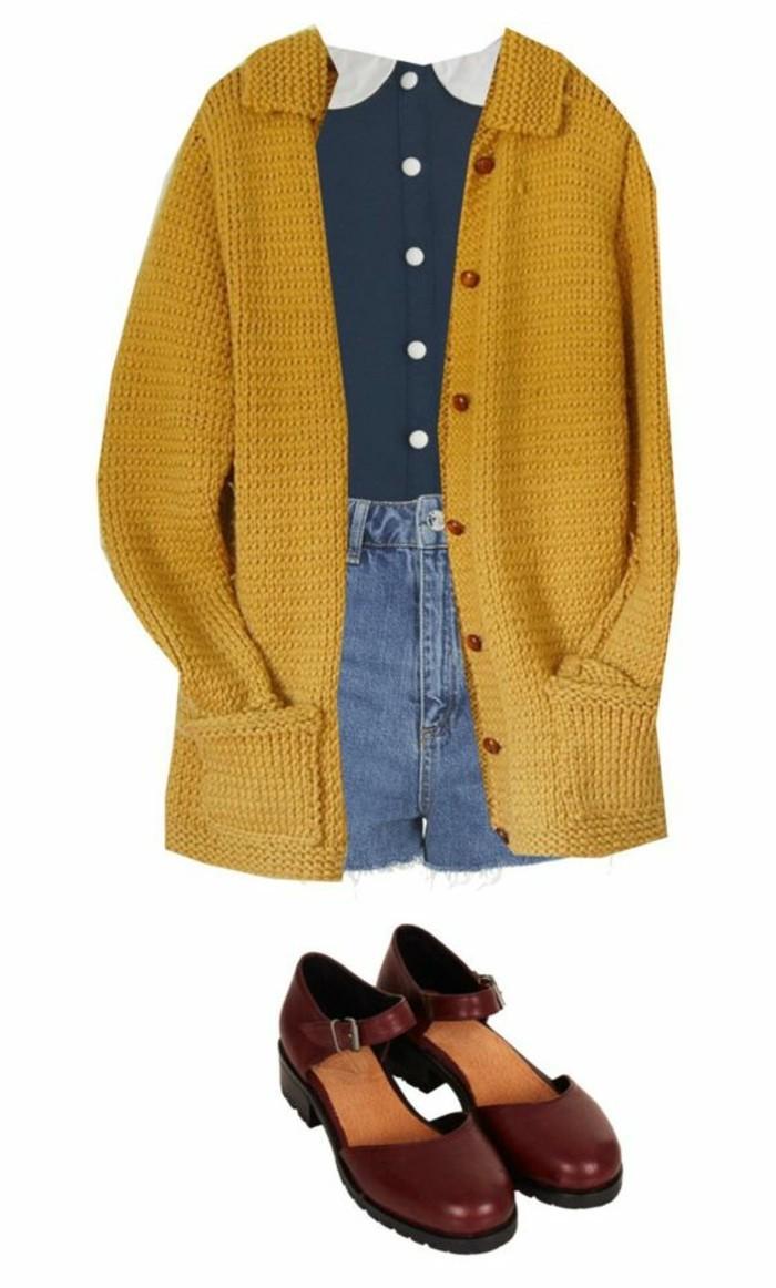 tenue-chic-rétro-cardigan-jaune-moutarde-short-en-hean-chemiette-femme-à-col-claudine