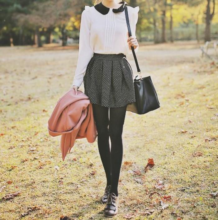 tenue-chic-rétro-jupe-évasée-à-pois-chemisette-femme-col-claudine-noire