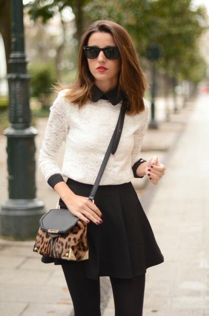 tenue-en-noir-et-blanc-chemise-dentelle-à-col-claudine-jupe-évasée
