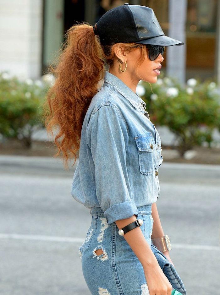 jean femme taille haute retro et chemise jeans vintage