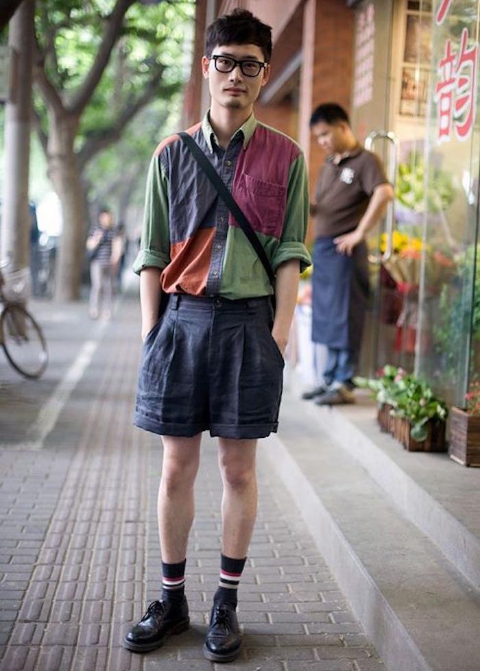 chemise et short chino mode des années 80