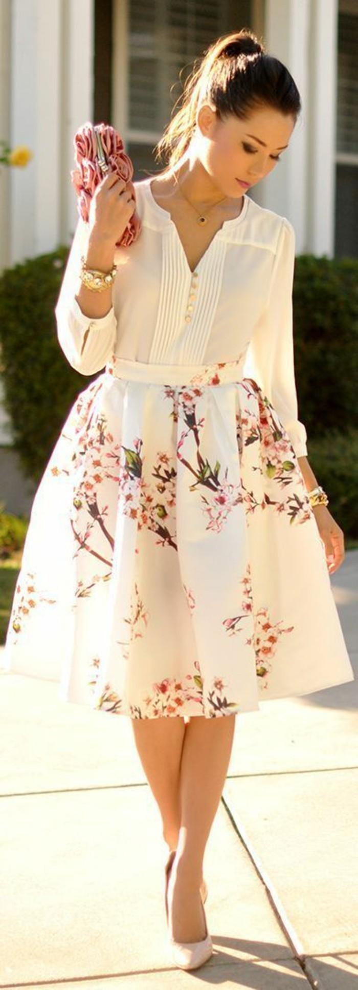 tenue-soirée-décontractée-robe-decontractee-jupe-mi-longue