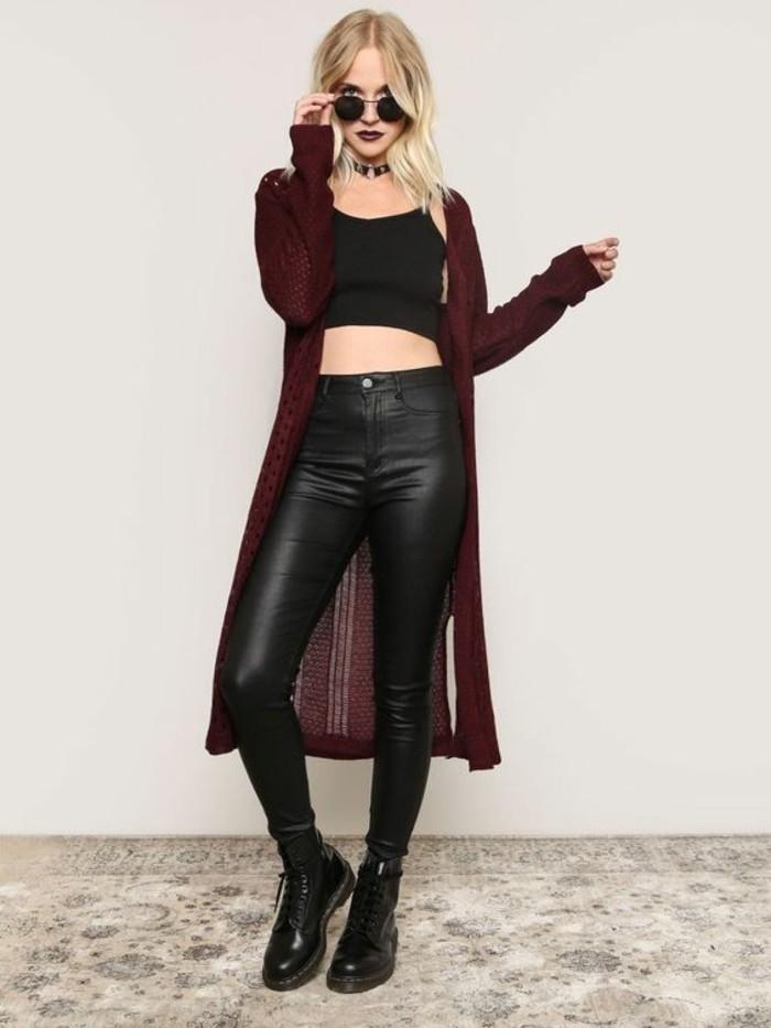 tenue-style-grunge-slim-cuir-top-cropped-bottines