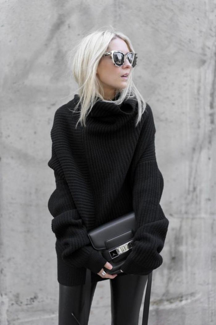 tenue-tout-noire-gros-pul-col-roulé-pantalon-cuir