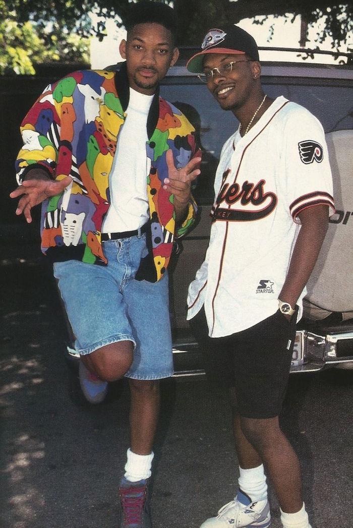 will smith et jazzy jeff dans les années 90 avec jordan et blouson couleurs