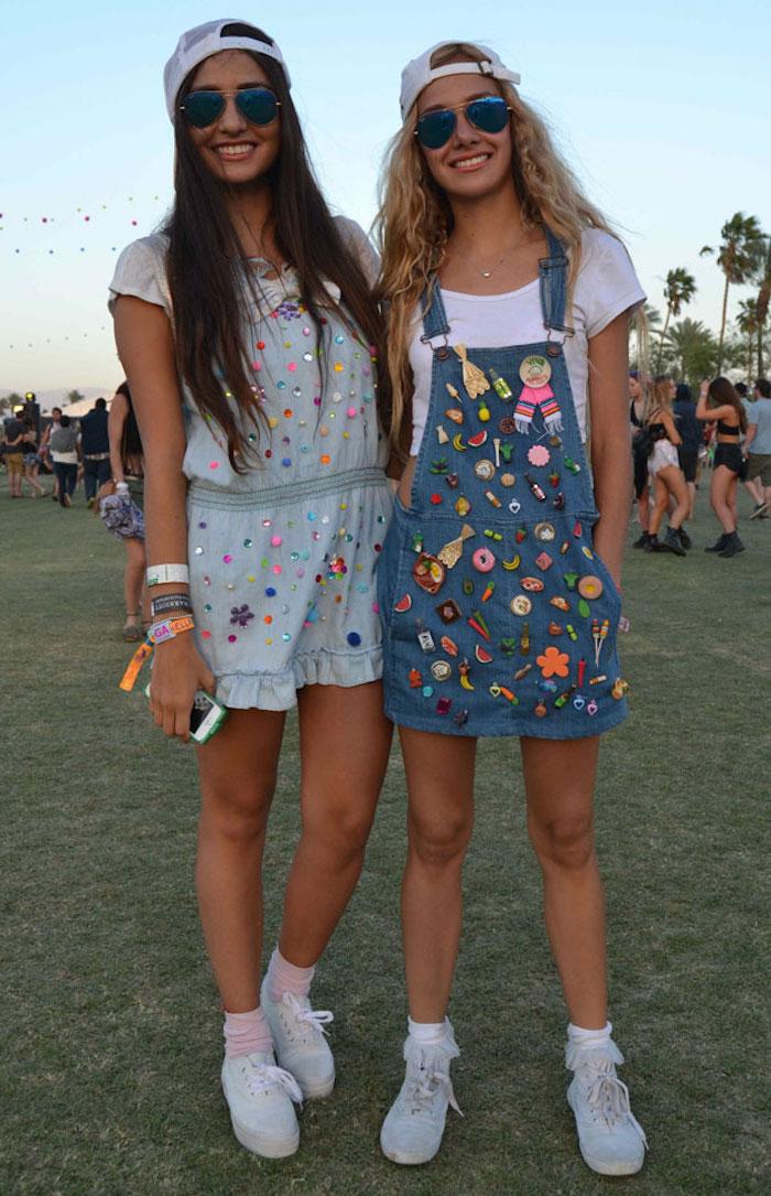 tenue coachela fille salopette robe en jean vintage hipster