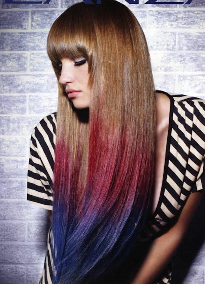 une coloration tie and dye audacieuse, coloration temporaire des cheveux à la craie