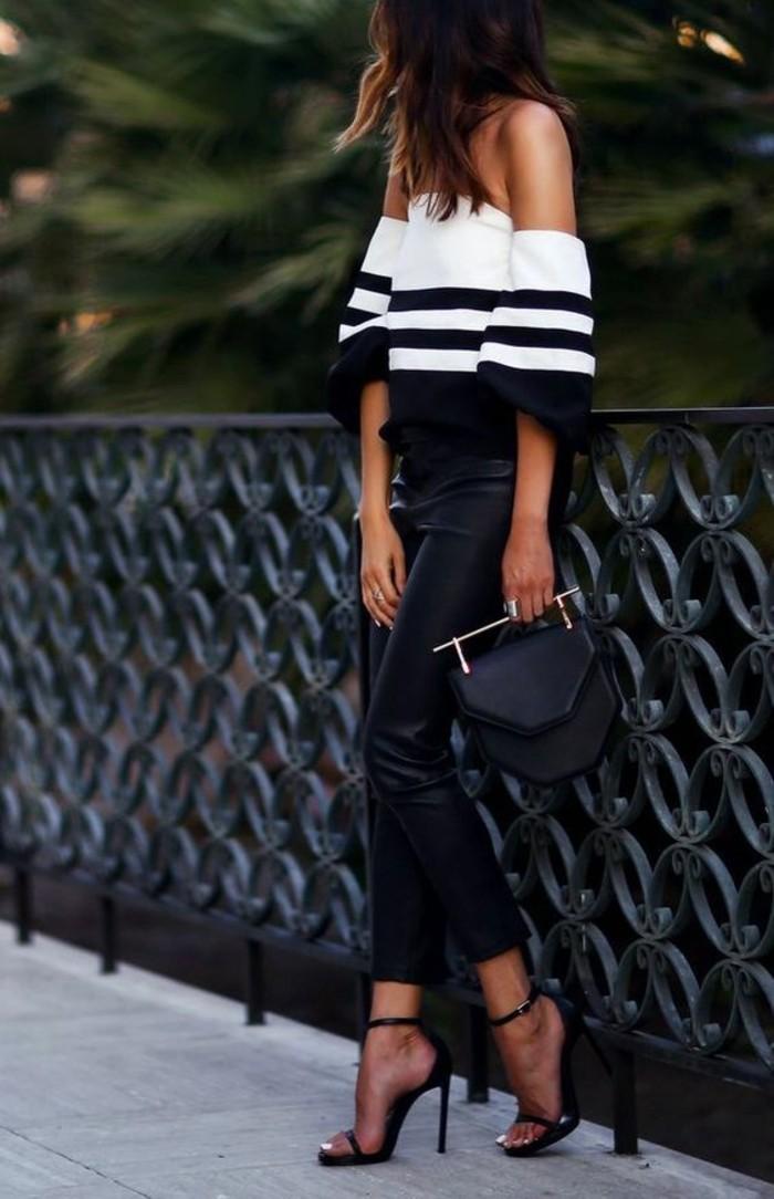 top-glamour-sandales-à-talons-pantalon-simili-cuir