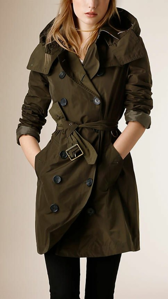 trench-femme-Burberry-court-olive-foncée