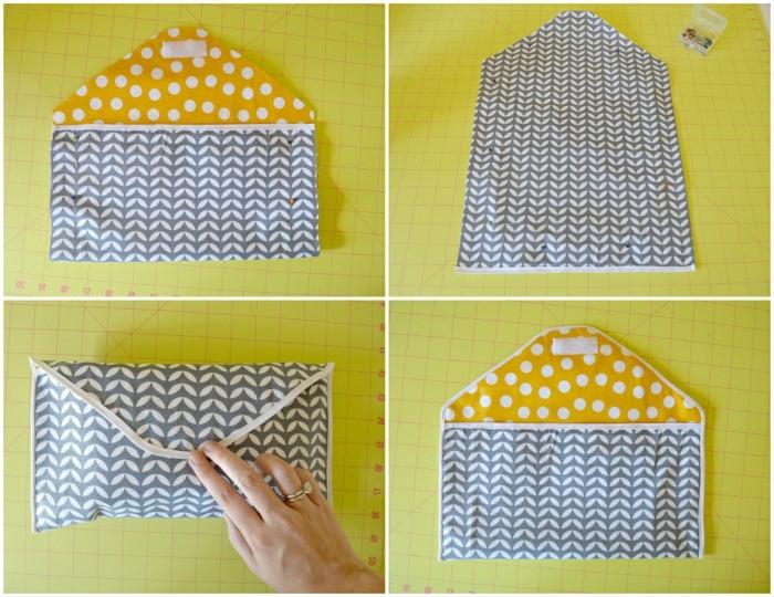 tuto-pochette-à-réaliser-soi-meme-tissu-a-en-gris-et-blanc-à-motifs-de-feuilles-et-une-doublure-jaune-à-point-blancs-fermeture-simple