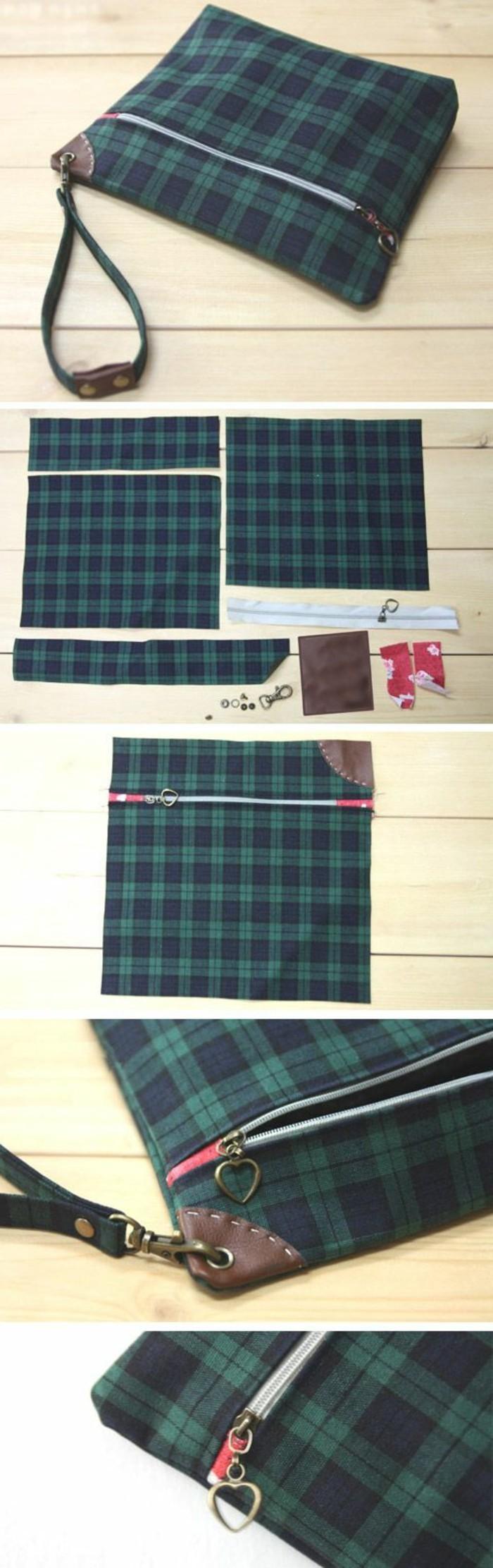 tuto-pochette-à-realiser-soi-meme-tissu-carré-munie-d-une-lanière-étapes-de-la-fabrication-accesoire-femme-original