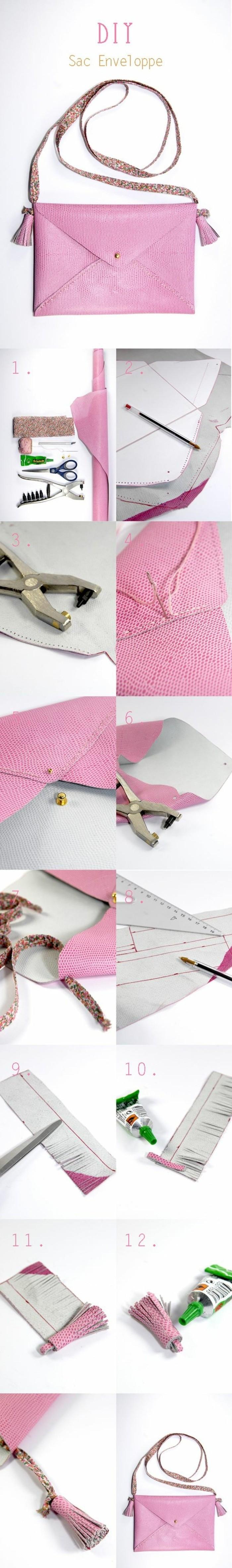tuto-pochette-a-fabriquer-soi-meme-fabriquer-une-pochette-femme-rose-avec-lanière-exemple-accessoire-pochette-de-soirée