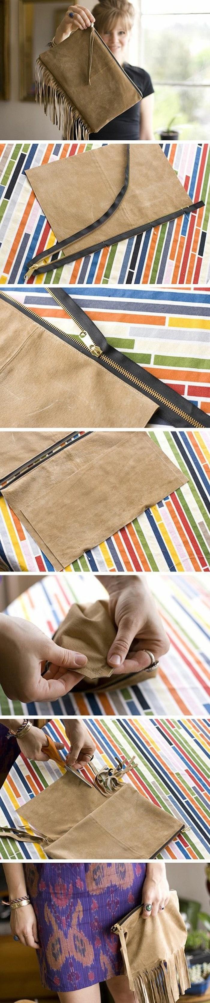 tuto-pochette-a-frange-a-fabriquer-soi-meme-modele-de-pochette-en-cuir-étapes-de-la-fabrication-fermeture-zip-accessoire-femme-stylé