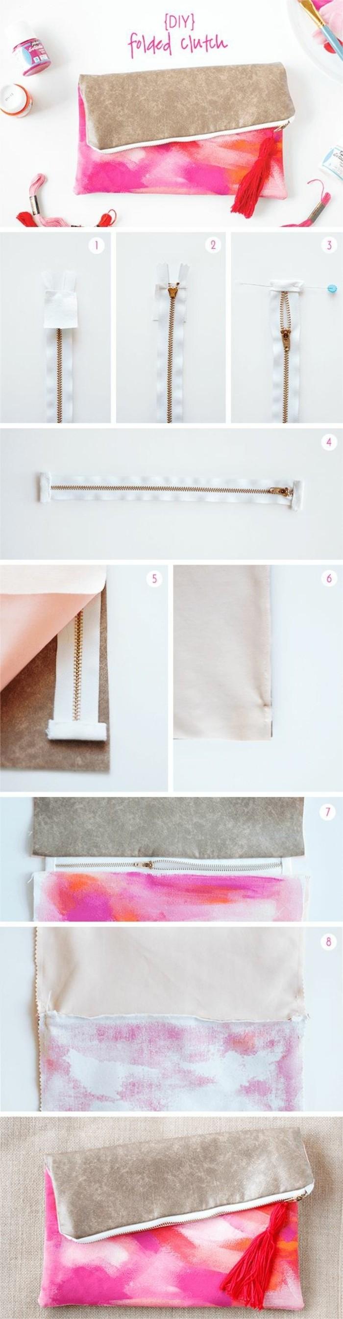 tuto-pochette-blanche-a-motifs-roses-à-faire-soi-meme-étapes-de-la-fabrication-d-un-modele-de-pochette-cousue-avec-une-fermeture-zippée
