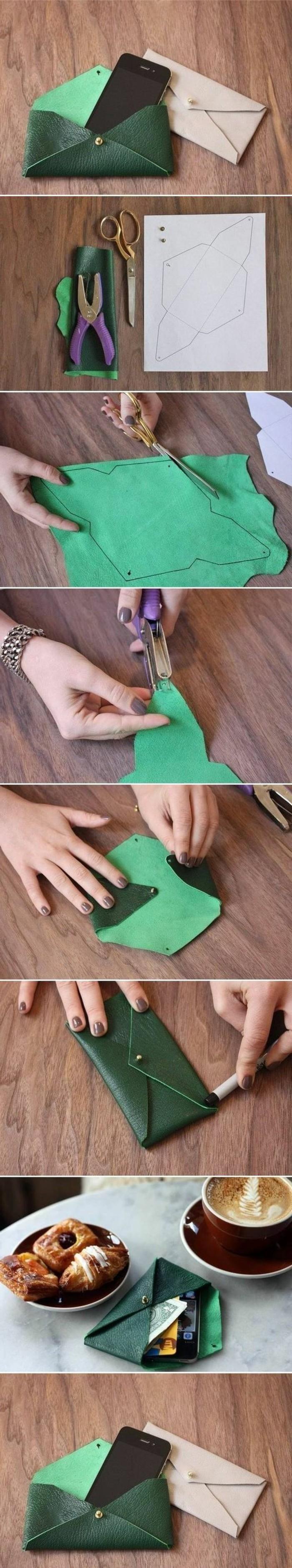tuto-pochette-en-cuir-vert-idée-comment-faire-une-pochette-étapes-de-la-réalisation-porte-monnaie-facile-à-créer