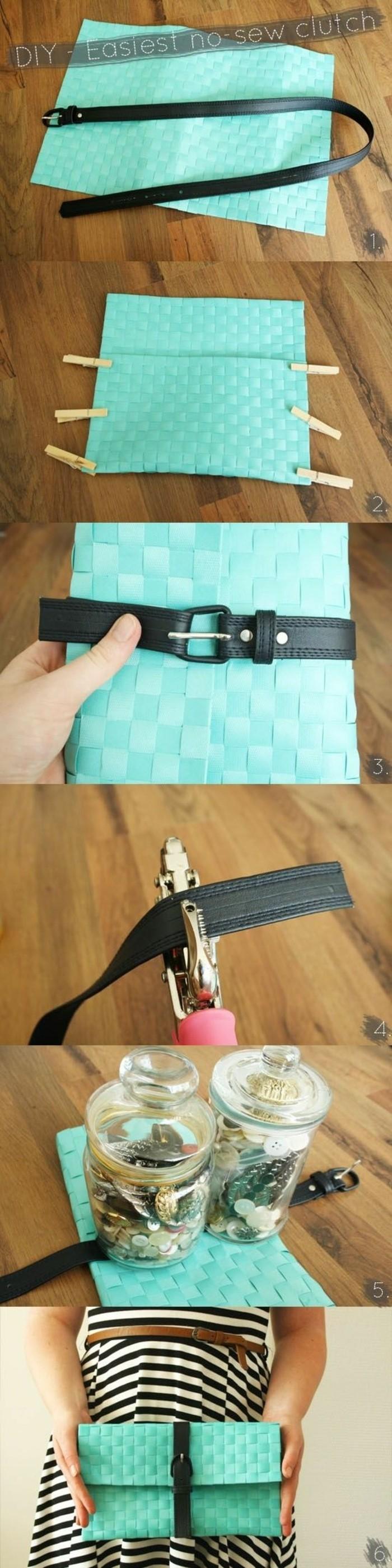tuto-pochette-non-cosue-à-faire-soi-meme-coller-les-différents-cotés-ensemble-a-l-aide-de-colle-modele-de-pochette-avec-ceinture