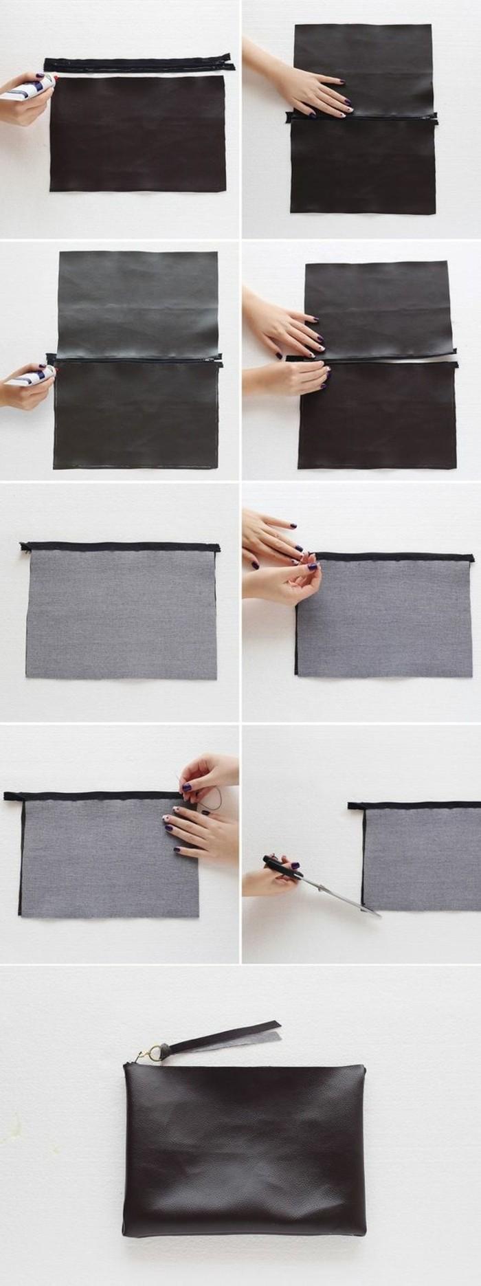 tuto-pochette-non-cosue-idée-comment-faire-une-pochette-noire-sans-coudre-avec-de-la-colle-étapes-de-la-fabrication