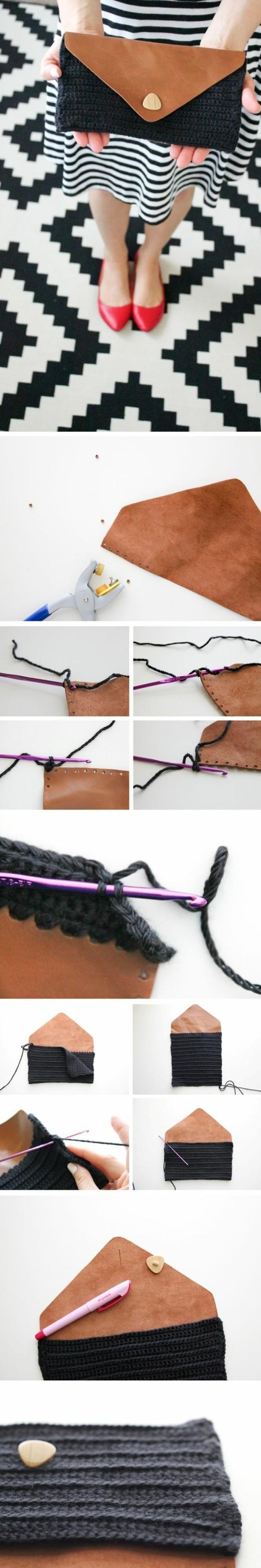 tuto-pochette-soirée-élégante-en-cuir-et-une-partie-en-laine-noire-fait-au-crochet-idée-comment-fabriquer-une-pochette-étapes-de-réalisation