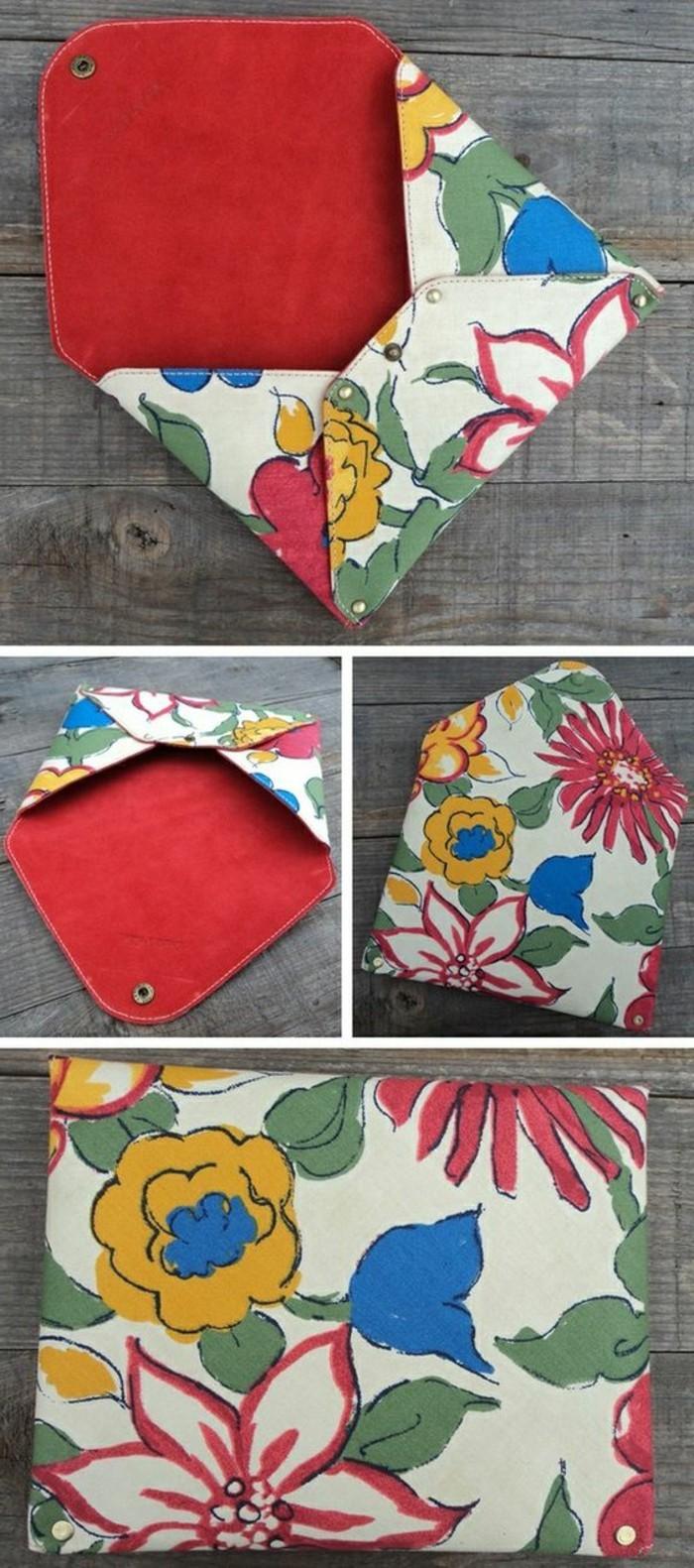 tuto-pochette-tissu-à-motifs-floraux-intérieur-rouge-idée-comment-faire-une-pochette-simple-soi-meme