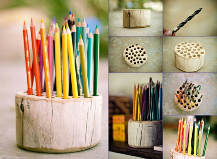 tutoriel-comment-faire-un-pot-crayon-bois-avec-des-trous-dans-un-buche-de-bois-idée-deco-bureau-rustique