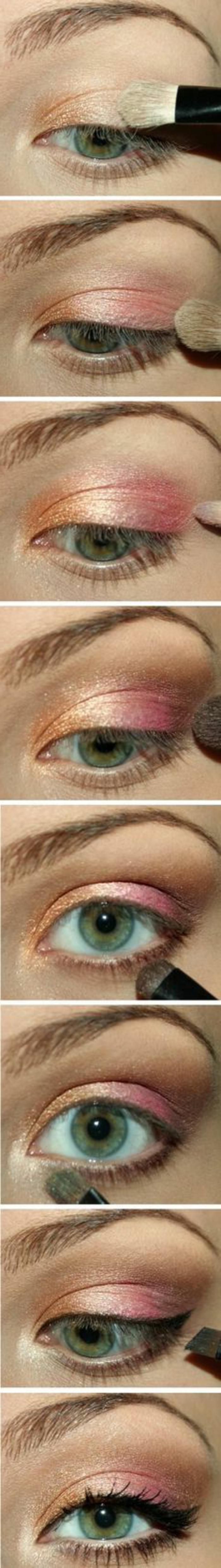 tutoriel-maquillage-rose-doré-orange-yeux-bleus