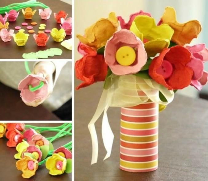 un-bouquet-de-fleurs-composé-d-alvéoles-boite-à-oeuf-multicolores-et-capuchons-bouteilles-idée-diy-decoration-florale-activité-manuelle-printemps