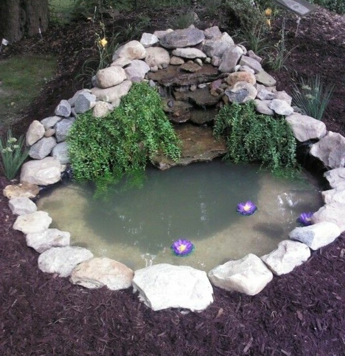 un-petit-bassin-d-eau-améangé-dans-un-jardin-bordé-de-pierres-vegetation-verte-idée-aménagement-coin-nature