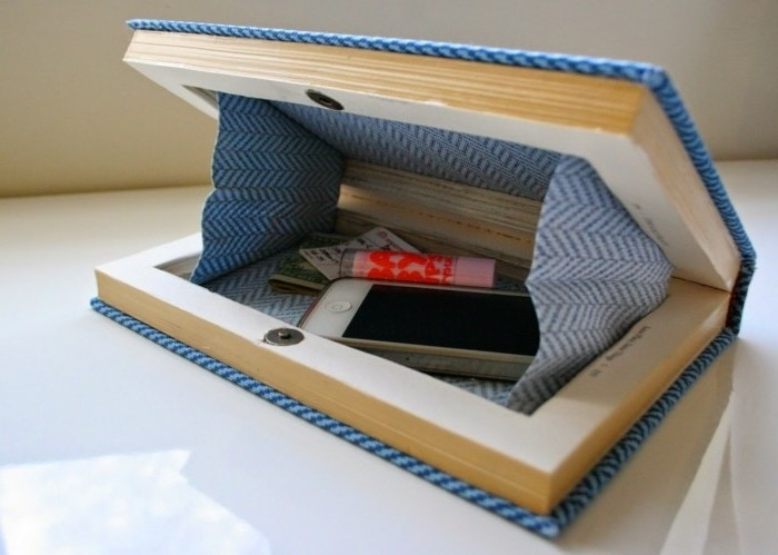 une-pochette-créée-dans-un-livre-idée-diy-pochette-créative-couverture-en-tissu-bleu-a-motifs-géometriques-idée-accessoire-femme