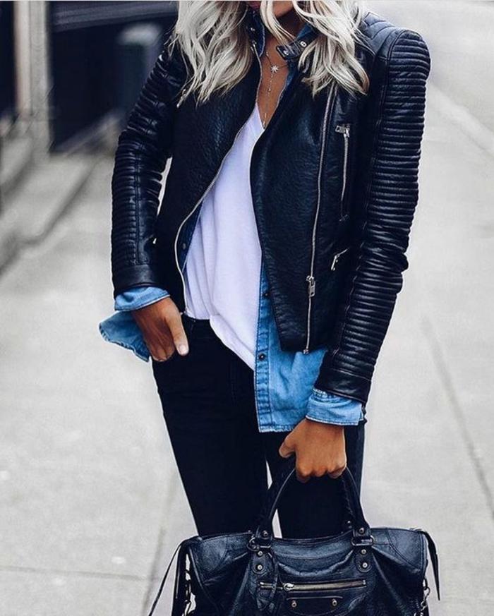 veste femme noir style motarde aux manches rayées horizontalement