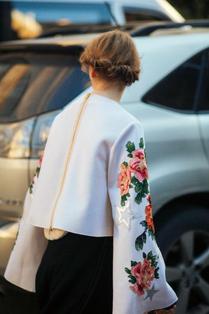veste printemps femme aux manches fleuries et larges