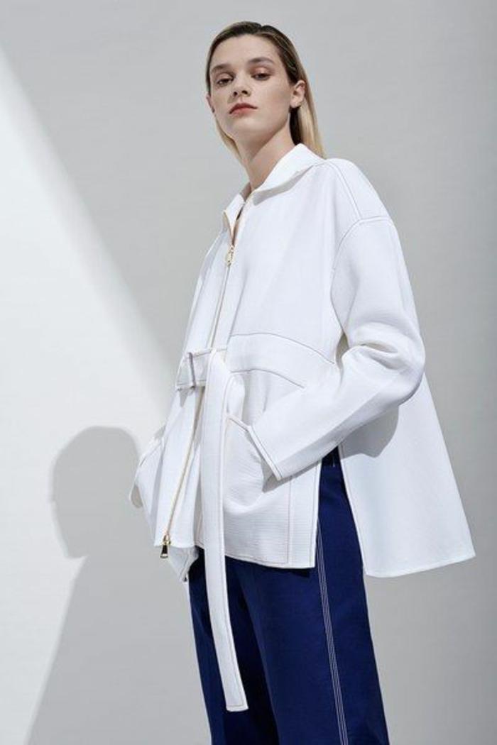 veste printemps blanche avec ceinture blanche loisirs