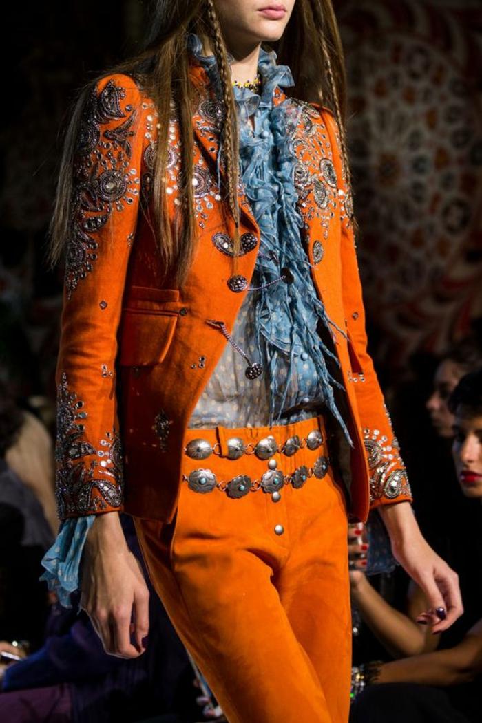 veste ete femme en orange style espagnol fiesta