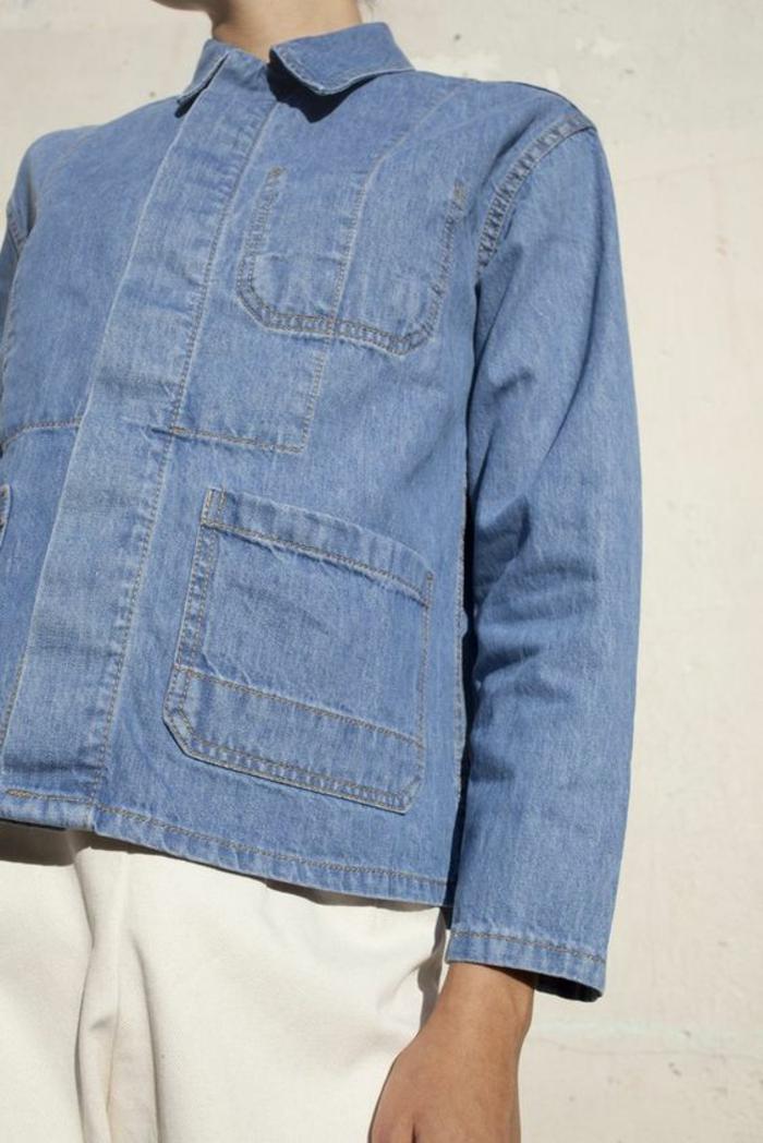 veste d été femme bleu denim manches longues