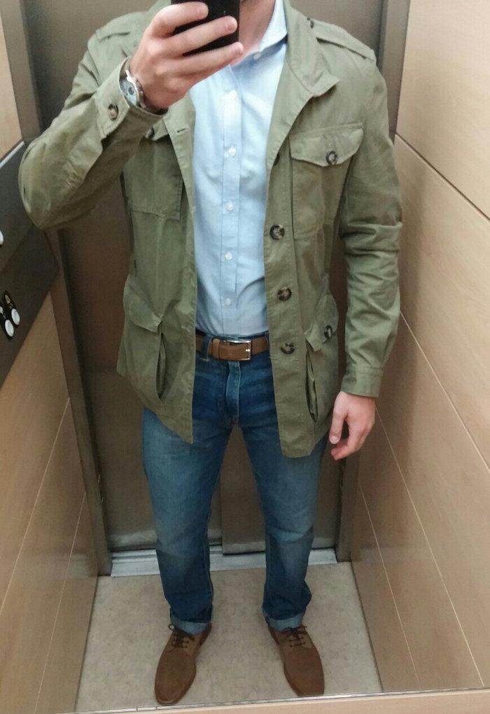 veste légère cargo kaki homme type saharienne