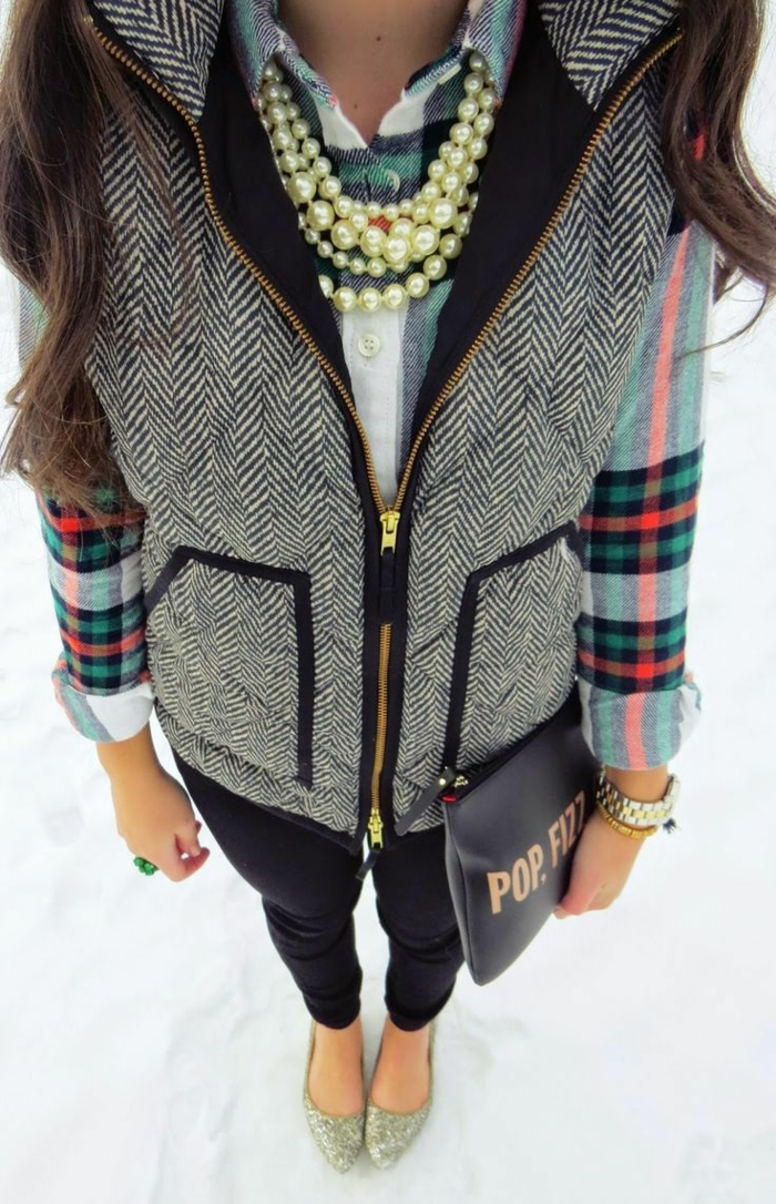 vest femme en gris deux poches sans manches