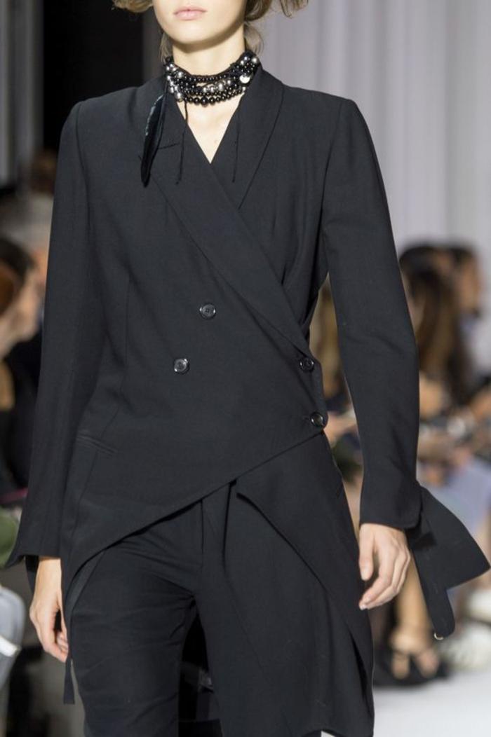 veste femme noir asymétrique longue