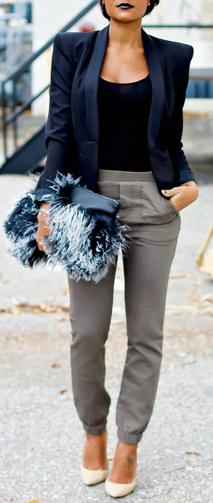 veste femme printemps en noir revers fins satinés