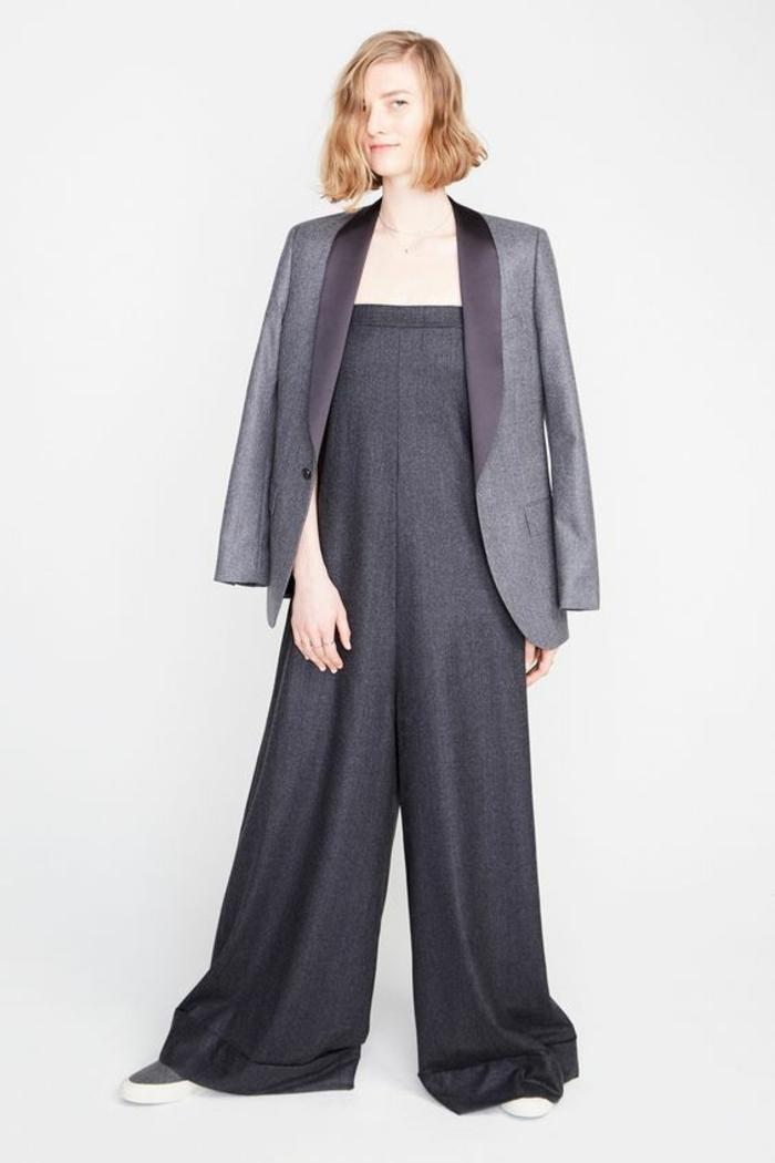 veste d été femme bleu indigo aux revers en soie effet tissu metallisé