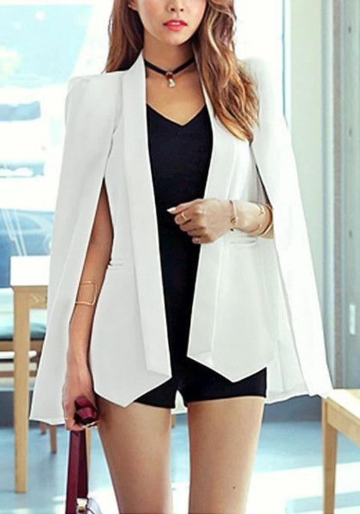 veste femme printemps blanche aux fentes sur les manches