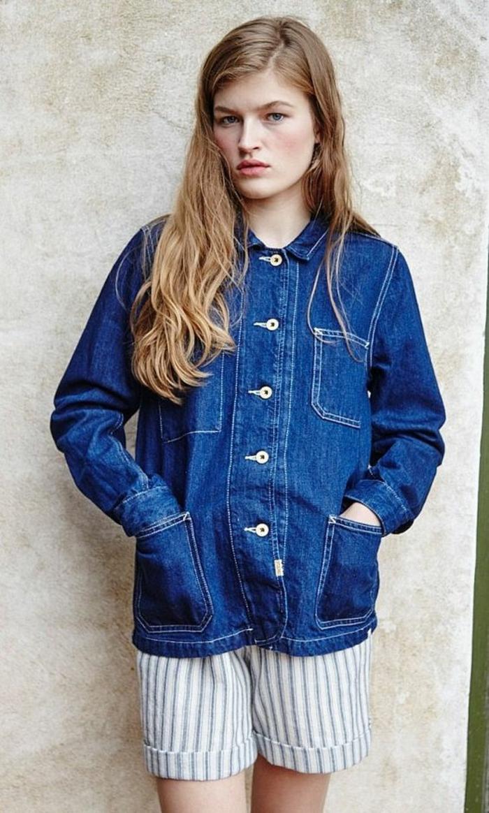 vest femme en denim bleu 4 poches grandes symétriques