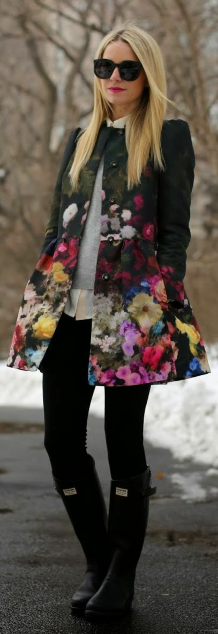 veste femme printemps verte aux fleurs grandes et minuscules