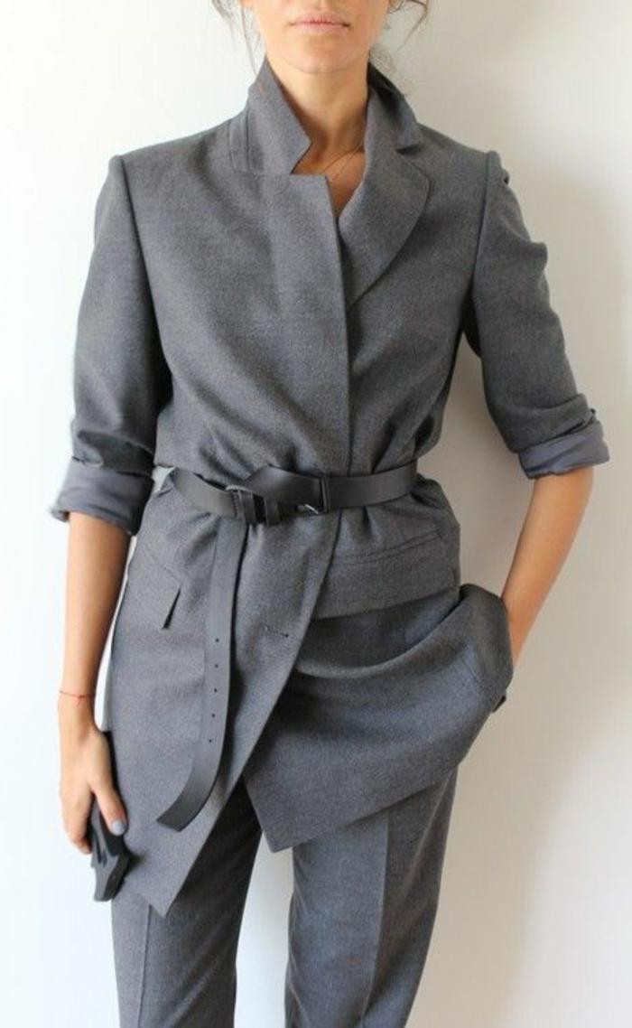 veste femme printemps grise manches retroussées