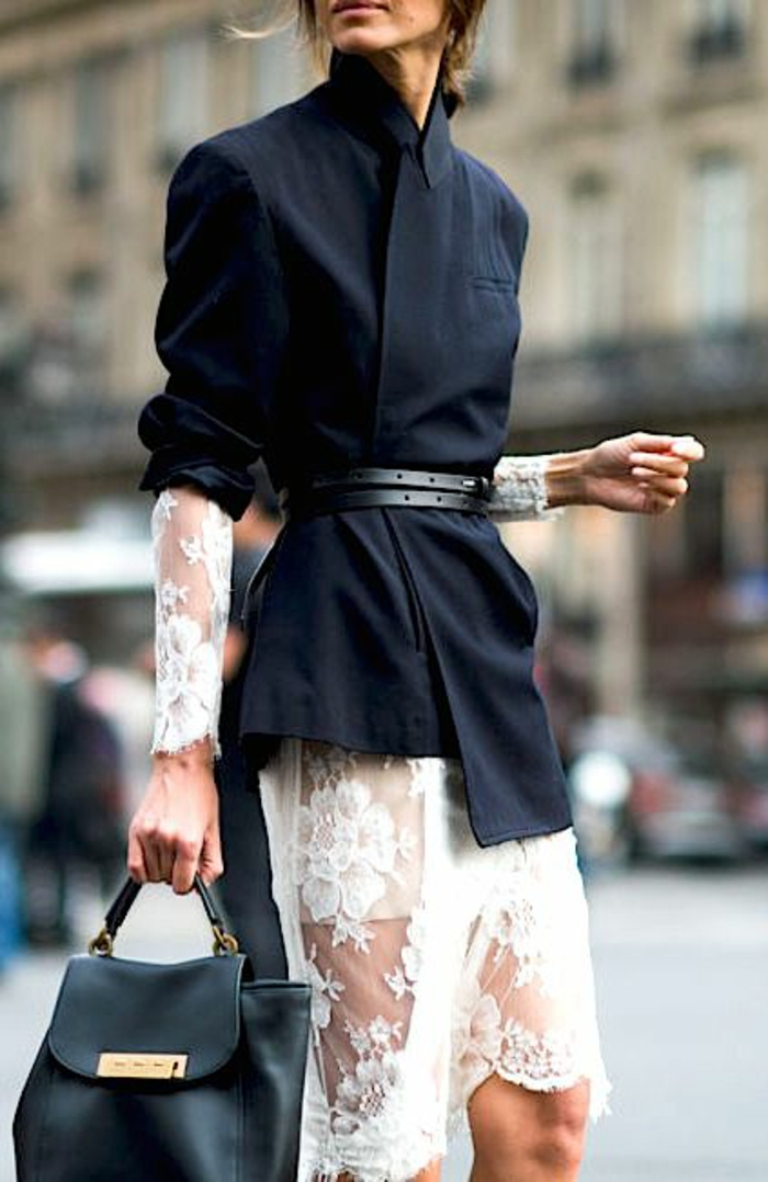 veste noir femme asymétrique aux manches retroussées