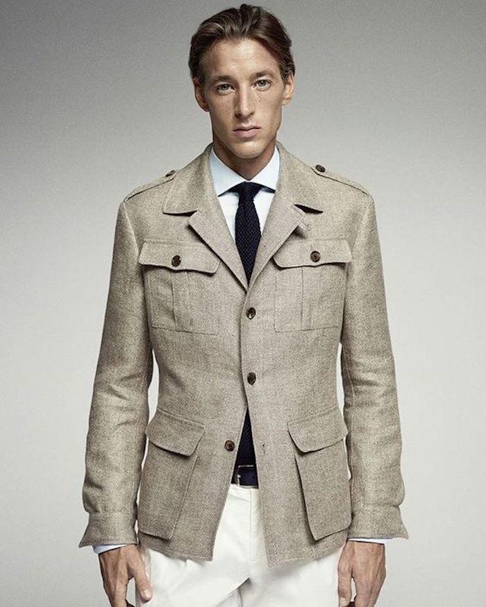 manteau en laine gris chiné coupe étroite saharienne